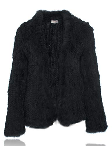Natural Fur Coat Knitted Rabbit Fur Jacket Long Sleeve Black