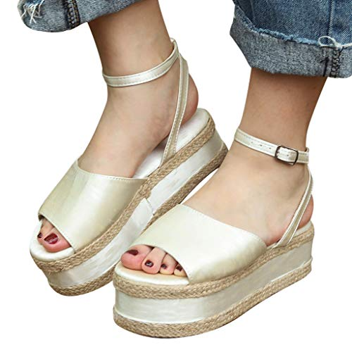 (Women's Summer Shoes, NEARTIMELadies Leather Weave Platform Sandals Ankle Strap Buckle Open Toe Flip)
