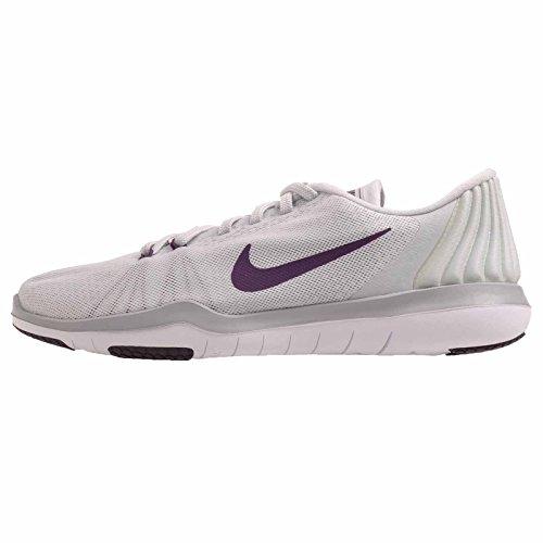 Nike Womens Flex Supreme TR 5 Pure Platinum/Night Purple Training Shoe 9 Women US (Nike Flex Supreme Tr 5 Training Shoe)