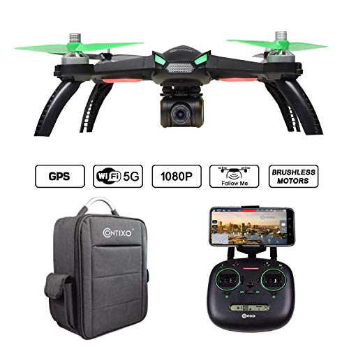 Contixo F20 RC Quadcopter Drone with GPS and 1080p HD WiFi Camera | Smartphone App Remote Control Follow Me, Auto Hover, Altitude Hold, One-Key Takeoff/Landing Brushless Motors Includes Backpack Case