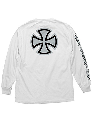 Bar/Cross Men'S Long Sleeve T-Shirt White/Silver (XL) ()