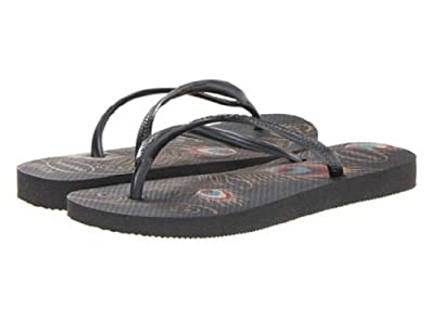 85c05036c Image Unavailable. Image not available for. Colour  Havaianas Slim Peacock  Black Multi Womens New Beach Flip Flops-39