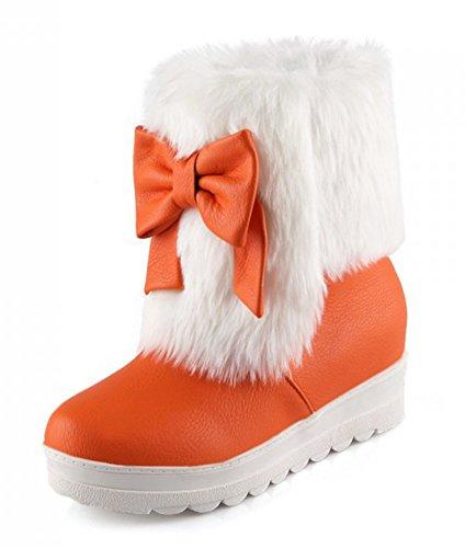 Aisun Donna Caldo Confortevole Carino Punta Tonda Suola Spessa Piattaforma Piattaforma Slip On Flat Ankle Snow Boots Stivaletti Scarpe Con Archi Orange