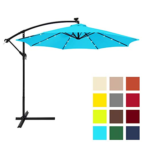 Best Choice Products 10ft Solar LED Offset Hanging Market Patio Umbrella w/Easy Tilt Adjustment, Polyester Shade, 8 Ribs for Backyard, Poolside – Light Blue