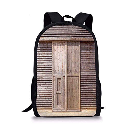 al,Old Wooden Timber Oak Barn Door Farmhouse Countryside Rural House Village Artsy Print,Brown for Boys&Girls Mens Sport Daypack ()