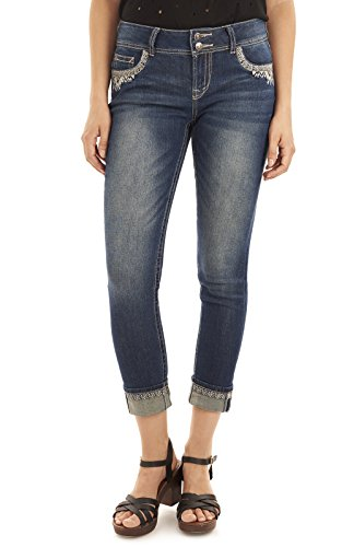 WallFlower Juniors Luscious Curvy Embellished Ankle Jeans In Brittney, 9 Juniors Embellished