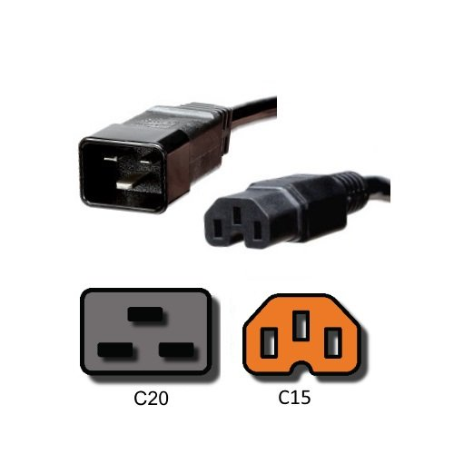 IEC Power Cord C20 to C15 - 1 Foot, 15A/250V, 14/3 AWG - Iron Box Part # IBX-6155-01