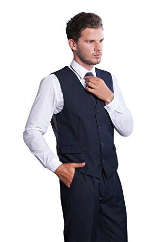 DOUGLAS&GRAHAME Men's Coloured Drawing Or Pattern Paisley Design Dress 5 Button Vest DG-VS-1001?Navy,L by DOUGLAS&GRAHAME