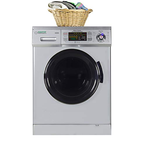 Equator 24 inch Compact New Version All-in-One Combo Washer-Dryer, Vented or Ventless, 1200 RPM, Auto Water, Auto Dry, Winterize, Quiet, Fully Digital in Silver 2019 Model