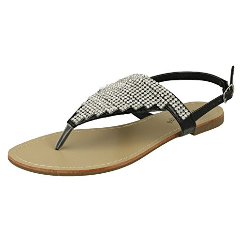 Savannah Ladies Toe Post Diamante Sandals - Black Synthetic - UK Size 7 - EU Size 40 - US Size 9 RzPXu