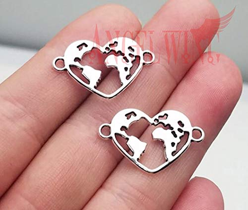 Heart Charms Antique Silver Plated | World Map Connector Charms Supplies Jewelry 25x16mm from Batop