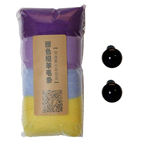 DIYJewelryDepot Pet Animal Felt DIY Roving Wool Felting Needle Stitch Craft Materials w/ Eyes Set (Purple)