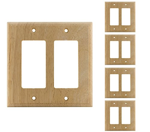 New 5 Pack Decorator Wood Wooden Double Rocker Unfinished Standard Size GFCI Devices Timer Sensor Oak Finish Paddle WallPlate Outlet cover Wall Plate For Dimmer,Light Switch Ready For Paint or Stain (Wall Unfinished Oak)