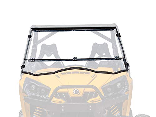 SuperATV Heavy Duty Scratch Resistant Flip/Tilt Down/Folding Windshield for Can-Am Commander 800/1000 / Max (2011+) - Hard Coated for Extreme Durability - Installs In 5 Minutes! ()
