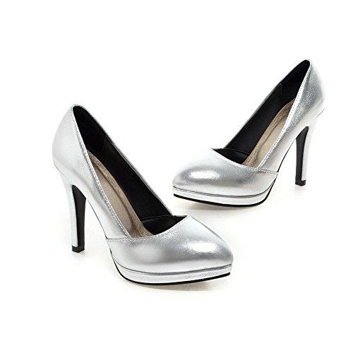 AllhqFashion Damen Spitz Zehe Ziehen auf PU Leder Hoher Absatz Pumps Schuhe Silber