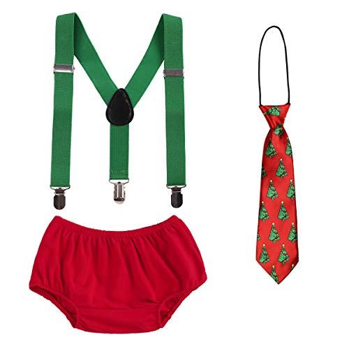 OBEEII Christmas Holiday Party Baby Toddler Boy Cake Smash Outfits Suspender Bottoms Tie Headband Dress Up Fancy Costume Christmas & Tree Neck Tie -