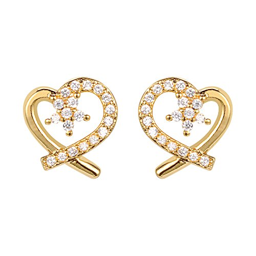 Heart CZ Stud Earrings 18k Gold (18k Yellow Gold Heart Earrings)