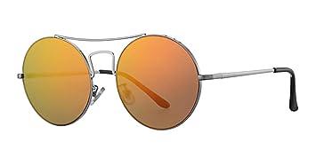 000290ff62 Eyewear World Gafas de Sol Redondas, Marco de Metal Plateado de Gran  tamaño, Lente