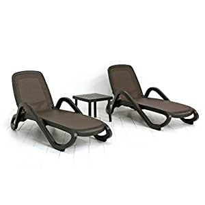 Nardi Alfa 3 Piece Outdoor Chaise Lounge Patio Chaise