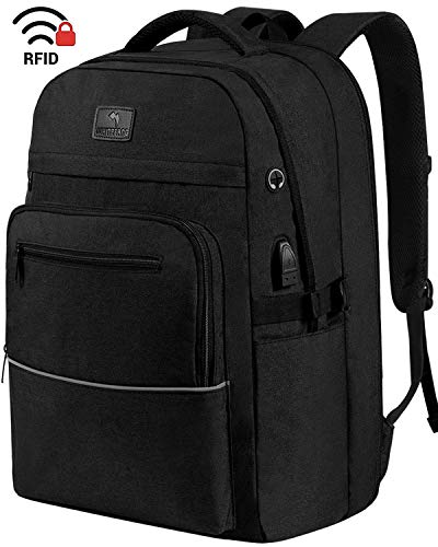Laptop Backpack,WhiteFang 17.3 Inch Extra Large TSA Friendly Business Travel Laptop Backpack with USB Charging Port, RFID Pockets Water Resistant Big School Backpack for Women & Men Fits 17.3 Inch - Black Inch Laptop 17.3