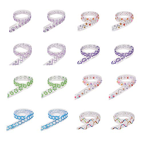 PH PandaHall 24 Rolls 20mm Mixed Color Self-Adhesive Decorative Tape DIY Stickers with Acrylic Rhinestone and ABS Plastic Imitation Pearl for Crafts Making & Scrapbooking Assorted Sizes and Colors