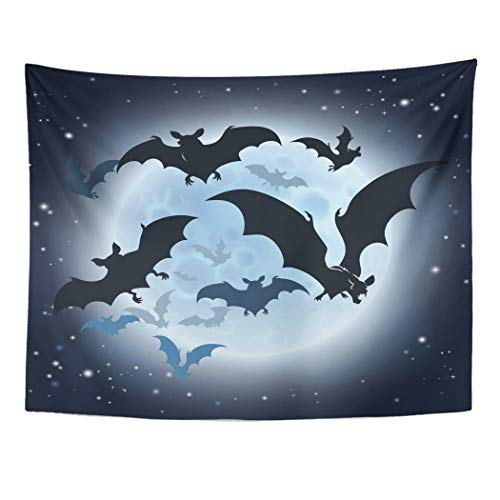Tarolo Decor Wall Tapestry Haloween Halloween Featuring Vampire Bats and Full Moon Hallowen Helloween 60 x 50 Inches Wall Hanging Picnic for Bedroom Living Room Dorm -