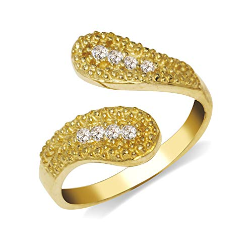 JewelryWeb Solid 10K Yellow or White Gold Elegant Beaded Bypass Adjustable Cubic Zirconia CZ Toe Ring (14mmx15mm) (Yellow-Gold)