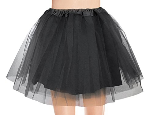 V28 Women's, Teen, Adult Classic Elastic 3, 4, 5 Layered Tulle Tutu Skirt (One Size, 4Layer-Black)]()