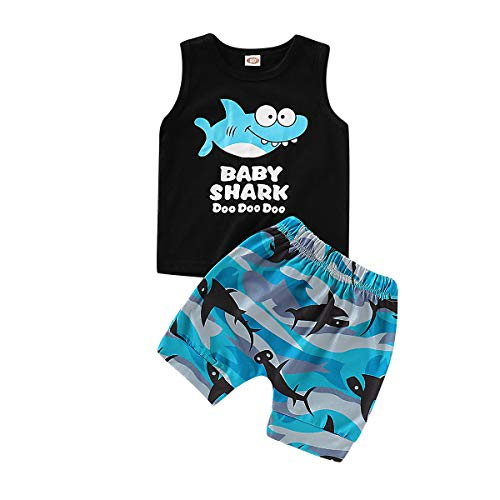 Summer Outfits for Boys Baby Shark Tops + Short Pants Cotton Sleeveless Cute Boys Short Sets 4-5T