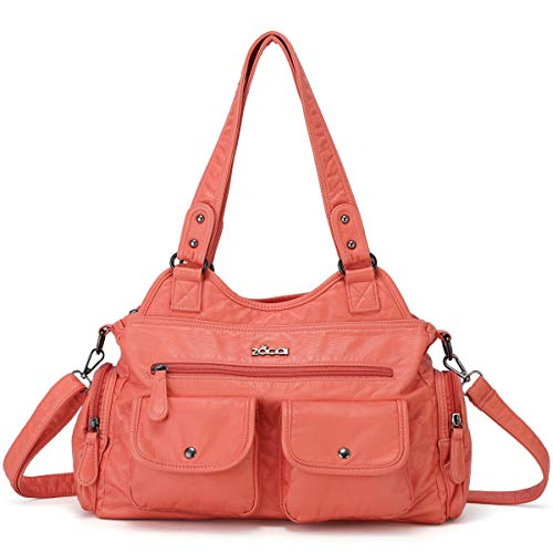 ZOCAI Hobo Shoulder Bag for Women Roomy Tote Handbags Street Satchel PU Leather with Multi Pockets for Ladies and Girls (Coral) ()