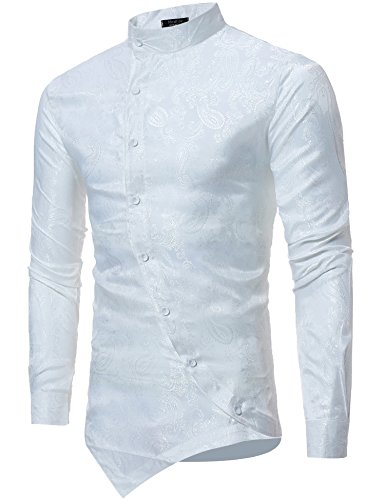 - Modfine Men's Long Sleeve Printed Silk Dress Shirt Dance Prom Party Button Down Fashion Shirts(White2,L)