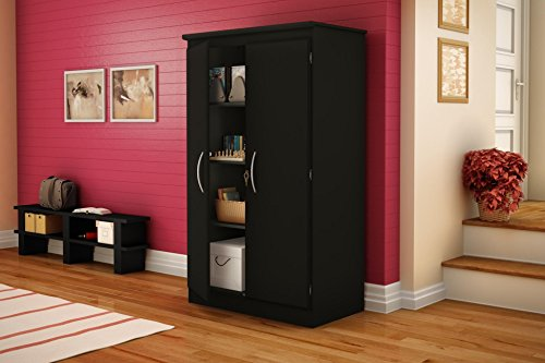 South Shore Tall 2-Door Storage Cabinet with Adjustable Shelves, Solid Black ()