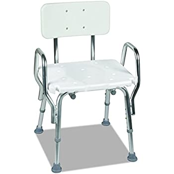 Medical Tool-Free Assembly Spa Bathtub Shower Chair, Heavy Duty Shower Chair, Portable Shower Seat, Adjustable Bath Seat, Shower Seat with Arms, White