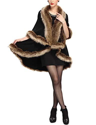 Kama BRIDA Women Luxury Faux Fur Shawl Wraps Cloak Winter Coat Sweater Cape ()