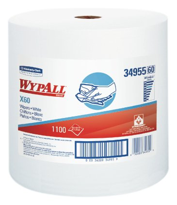 Wypall 34955 X60 Wipers on Jumbo Roll,  12.5' Length x 13.4' Width, White (Roll of 1100)