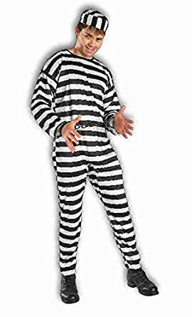 Amazoncom Forum Novelties Mens Striped Prisoner Costume Black