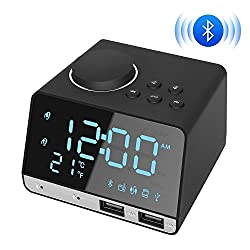 Kitbeez Alarm Clock Radio 4.2 Inch, Bluetooth Speaker with Dual USB Charging Port, Snooze Clock AUX TF Card Play, Thermometer, Large Mirror LED Dimmable Display for Bedroom, Hotel, Table, Desk