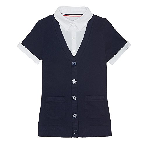 French Toast Little Girls' Toddler Cardigan Blouse 2 Fer, Navy, 4T by French Toast