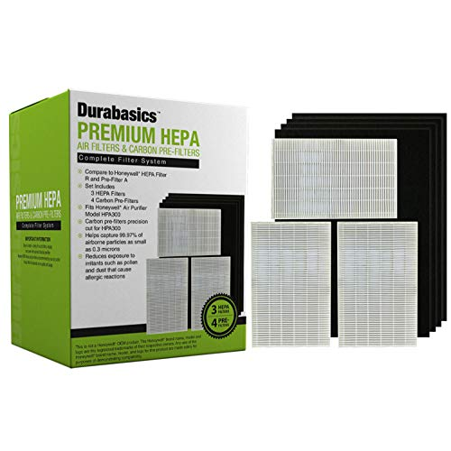 Durabasics Compatible HEPA Filter R 3 Pack Set, Including 4 Precut Activated Charcoal Pre Filters for HPA300, Replacements for Honeywell Filter R and Prefilter A, HRF-R3, HRF-R2, HRF-R1, HRF-AP1