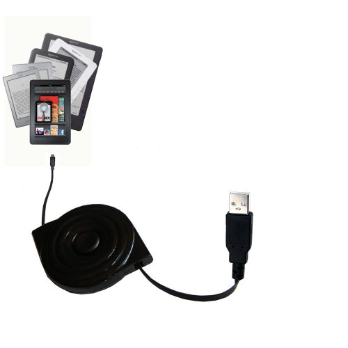 Retractable USB Cable for the Amazon Kindle / DX / Touch / Keyboard (WiFi and 3G) with Power Hot Sync and Charge capabilities - uses Gomadic TipExchange - Keyboard Kindle Wifi 3g