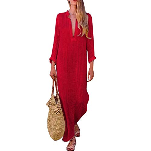 (OTINICE Women Long Sleeve Casual Loose Dresses V-Neck Linen Maxi Beach Long Dresses Red)