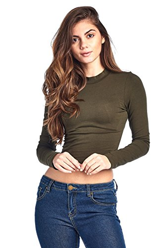 Khanomak Long Sleeve Mock Neck Crop Top (Medium, Olive)
