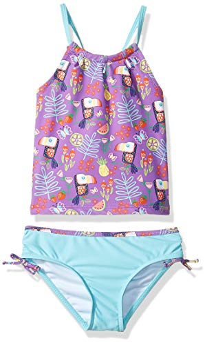 KIKO & MAX Toddler Girls' Tankini 2-Piece Swimsuit Bathingsuit, Purple Tropical Print, 3T (2piece Tankini)
