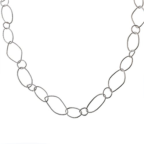 Silver Link Necklace - Miss Mimi - Womens Classic Vintage Connecting Circle Oval Links - Chain Statement Stranded Long Necklace (Silver Link 3)