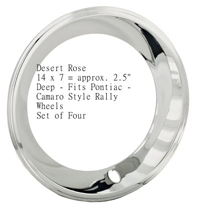 14x7 California Chrome Plated Stainless Steel Beauty Trim Rings Pontiac Ralley JAE