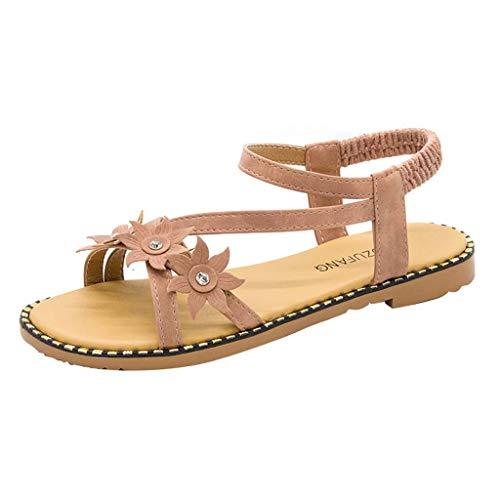 Women Flat Sandals Summer,SIN+MON Womens Girls Casual Beach Roman Sandals Elastic Band Flower Open Toe Non-Slip Sandals Pink