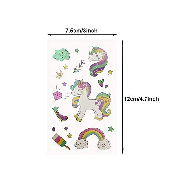 Unicorn Temporary Tattoos for Kids Birthday Party, Waterproof Unicorn Tattoo Stencil Unicorn Party Supplies 16 Sheets, 288 Tattoos 5