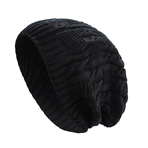 Chunky Cable Beanie - Surblue Unisex Trendy Warm Oversized Chunky Cable Knit Slouchy Beanie,Black,Large