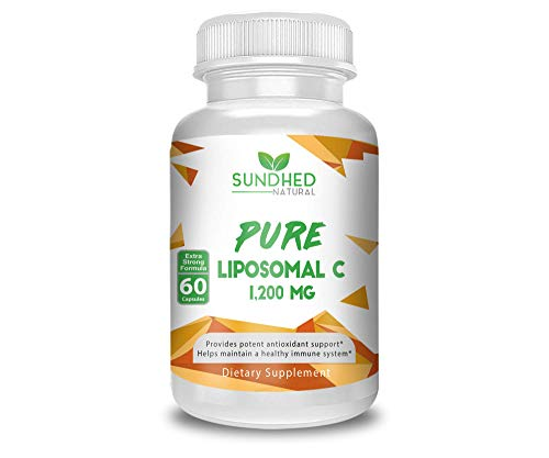 Sundhed Natural Pure Liposomal Vitamin C – 1200mg Immune System & Collagen health Booster, Anti Inflammatory, Anti Aging Skin Vitamins, Sodium Ascorbate, Sunflower Lecithin – 60 capsules