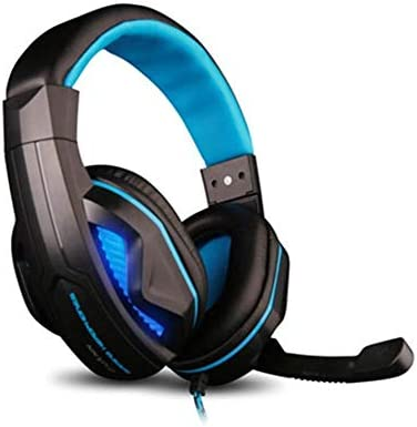 RENKUNDE ヘッドセットとゲーミングヘッドセットブラックブルーステッチシンプルなヘッドセットの調整可能USBケーブル ゲーミングヘッドセット